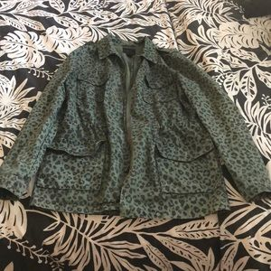 Forever 21 Army Green Leopard Print Jacket